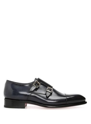 Santoni %100 Deri Çift Tokalı Klasik Ayakkabı Lacivert